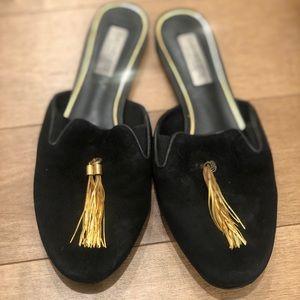 Rachel Zoe Suede Gold Tassel Mules Size 7